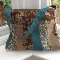 Teal and brown faux suede shoulder bag