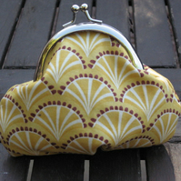 Mustard yellow metal frame coin purse