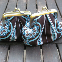 Chocolate and Turquoise Coin Purse