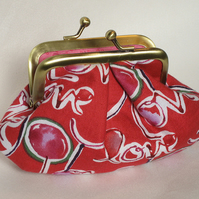 Red 'Love' print metal frame purse