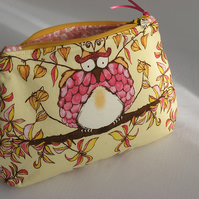 Owl print cosmetic bag