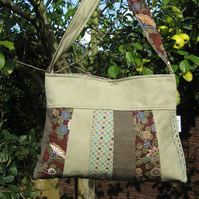 Green patchwork handbag