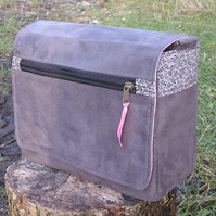Grey suede messenger bag with pink lining - CUSTOM ORDER FOR FIONA SOLD