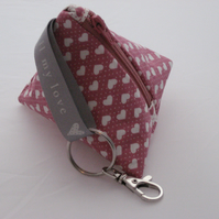 Heart print mini pyramid purse - dusky pink