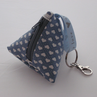 Valentine heart cosmetic bag -  blue