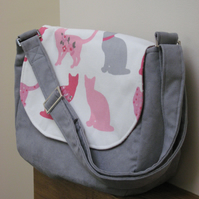 Custom order for CatherineGraceSmith - green & pink cat themed messenger bag
