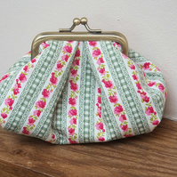 Green gingham, pink and cream puffy metal frame purse