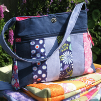 Summery Patchwork Handbag - Navy blue