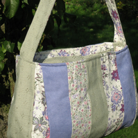 Lilac and green floral patchwork bag