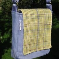 Lilac & Green tweed mini-messenger bag
