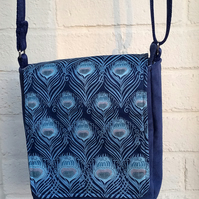 Blue peacock mini-messenger bag