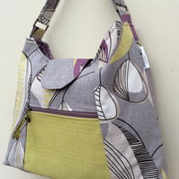 Retro grey, yellow & purpe tote bag