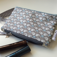 Grey and blue bird themed cosmetic bag