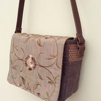 Chocolate brown messenger bag with leather strap