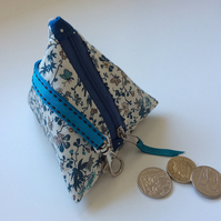 Cream and blue butterfly print mini pyramid purse