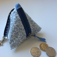 Cream and blue vine print mini pyramid purse