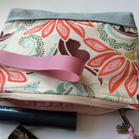 Cream, green and peach cosmetic bag