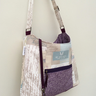 Blue and purple postcard themed shoulder bag