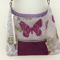 Linen butterfly tote bag
