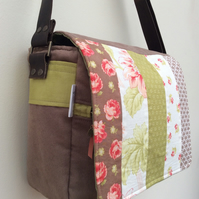 Peach, green and brown messenger bag with adjustable leather strap
