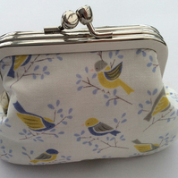Yellow bird double pocket metal frame coin purse