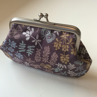 Flower & butterfly print metal frame coin purse