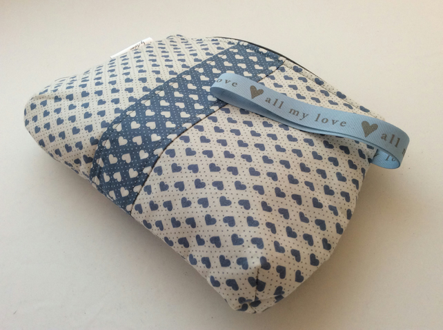 Valentine heart print cosmetic bag - dusky blue