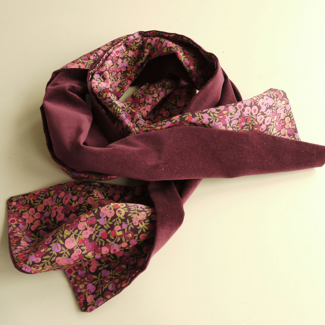 Claret Velveteen and Liberty Wiltshire Berries Scarf