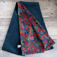 Liberty Ciara tana lawn and teal velveteen scarf