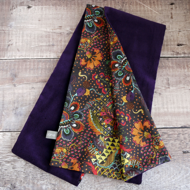 Liberty Grand Bazaar tana lawn and purple velveteen scarf