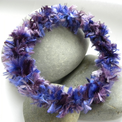 Narrow Lavender Feathered Bangle