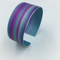 Watercolour striped pink and blue anodised aluminium cuff