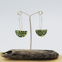 Lime green long drop semi circle seed head earrings