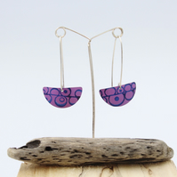 Dark pink long drop semi circle seed head earrings