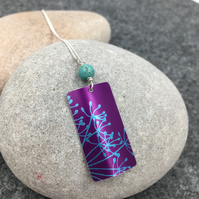 Pink and turquoise anodised aluminium cow parsley rectangle pendant