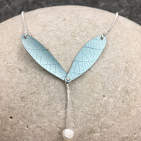 REDUCED Pale aqua anodised aluminium  seed pod and pearl pendant