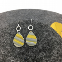 REDUCED Small Yellow and grey anodised aluminium drop earrings