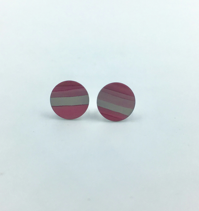 Cranberry pink striped anodised aluminium studs