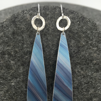 Blue striped anodised aluminium long dangly earrings with silver ring