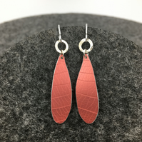 REDUCED Red anodised aluminium leaf textured dangly earrings with silver circle