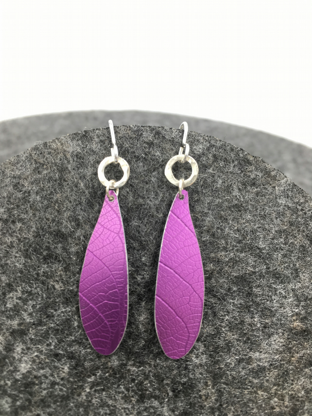 Dark pink dragonfly wing dangly earrings with silver circle