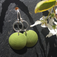 Spring green anodised aluminium and silver, leaf textured circle dangly earrings
