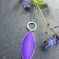 Purple anodised aluminium distressed leaf pendant with silver ring