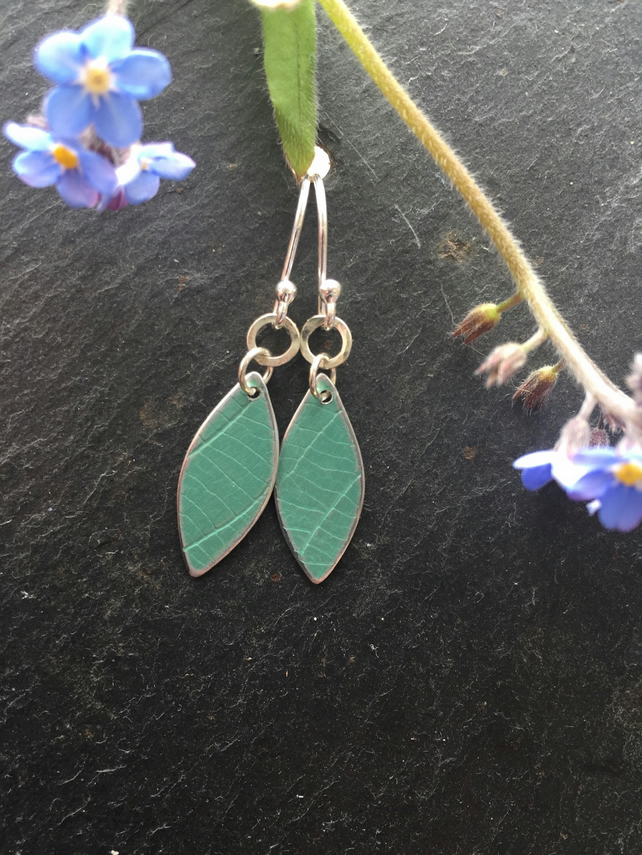 Soft green anodised aluminium distressed leaf earrings with silver ring