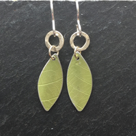 lime green anodised aluminium distressed leaf earrings with silver ring
