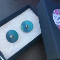 Reversible striped turquoise and purple anodised aluminium stud earrings
