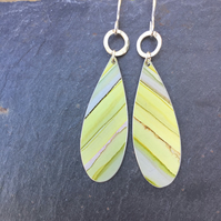 Lime green anodised aluminium striped drop earrings with silver ring.