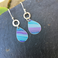 Small pink and teal striped anodised aluminium drop earrings with silver ring.