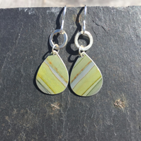 Lime green and yellow drop earrings with silver ring.