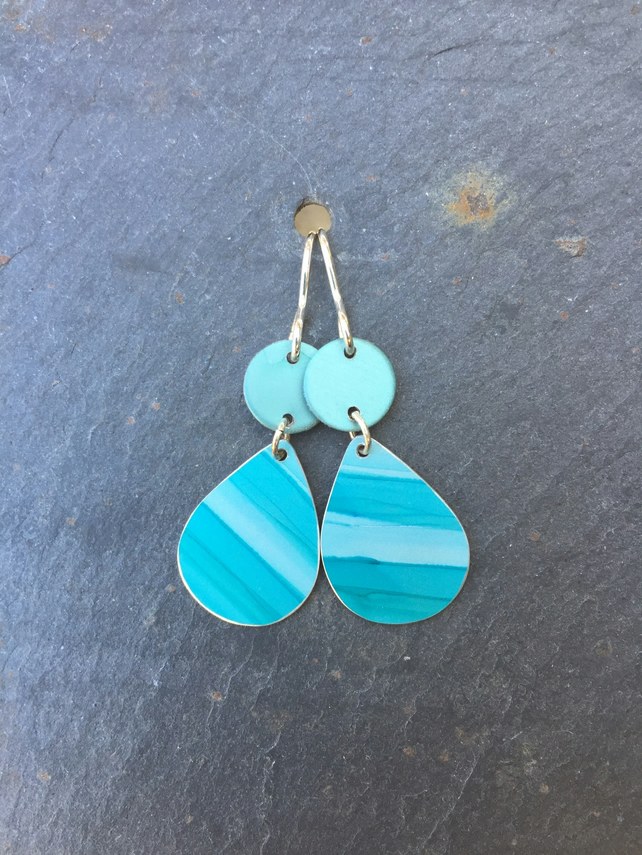 REDUCED Teal and turquoise striped drop earrings